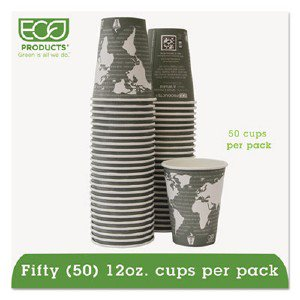World Art Renewable/Compostable Hot Cups, 12 Oz, Gray, 50/Pack EPBHC12WAPK ECOEPBHC12WAPK pg.472.